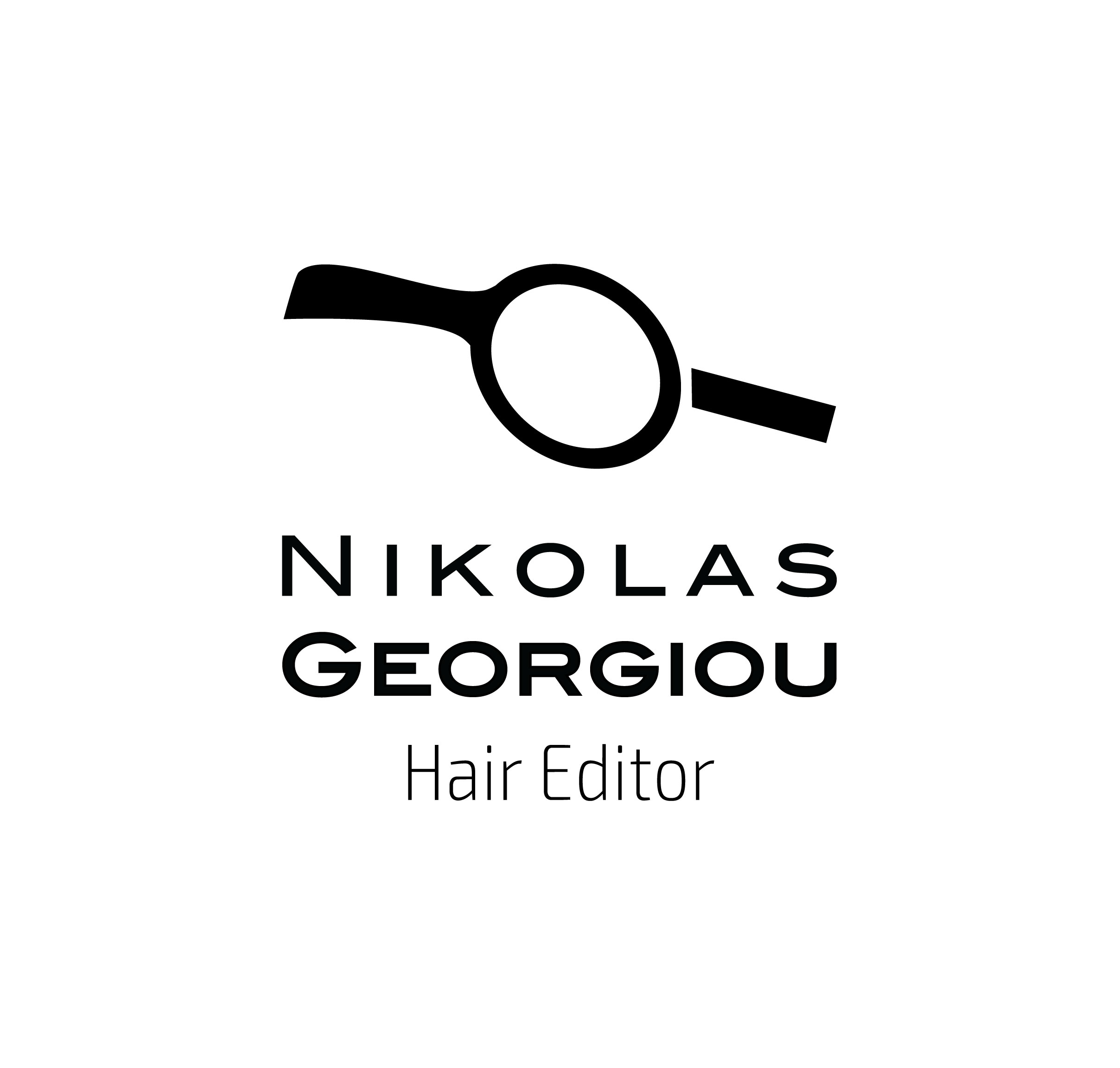 Nikolas Georgiou Hair Editor Logo in White